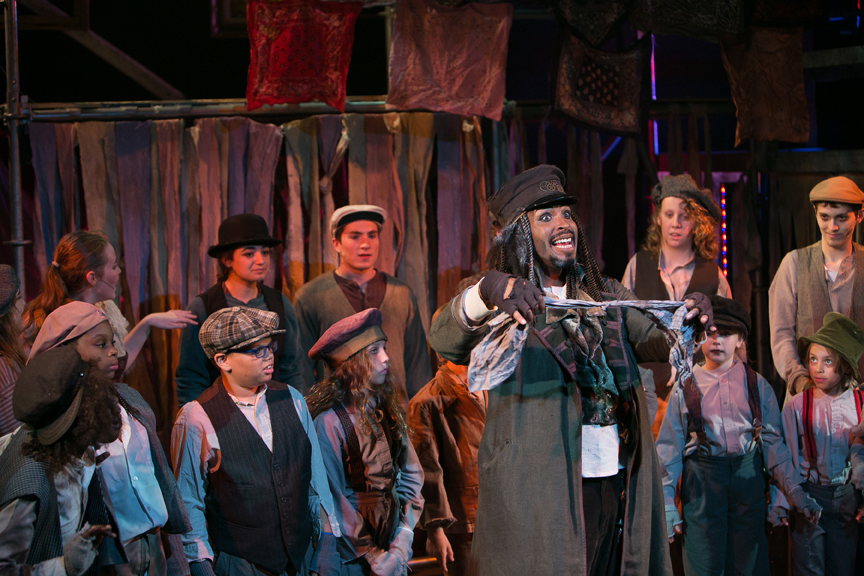 Fagin sings You've Got To Pick a Pocket or Two in Oliver! steampunk costume design by Katharine Tarkulich