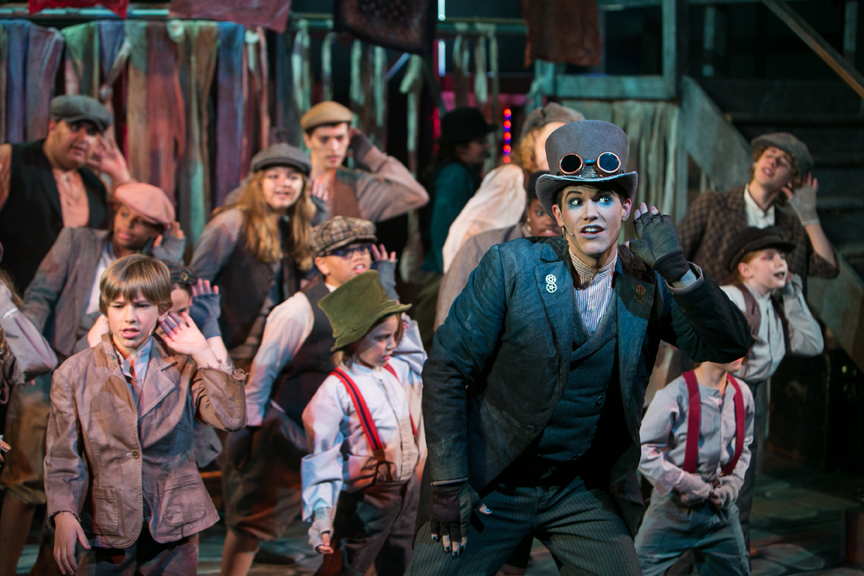 Oliver, the Artful Dodger, and Fagin's Gang in Oliver! steampunk costume design by Katharine Tarkulich