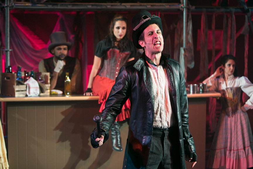 Bill Sykes with Nancy and Ensemble in Tavern from Oliver! steampunk costume design by Katharine Tarkulich