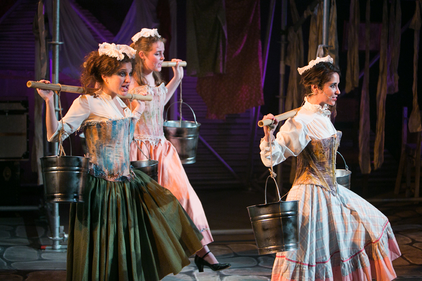 Milk maids sing Who Will Buy in Oliver! steampunk costume design by Katharine Tarkulich