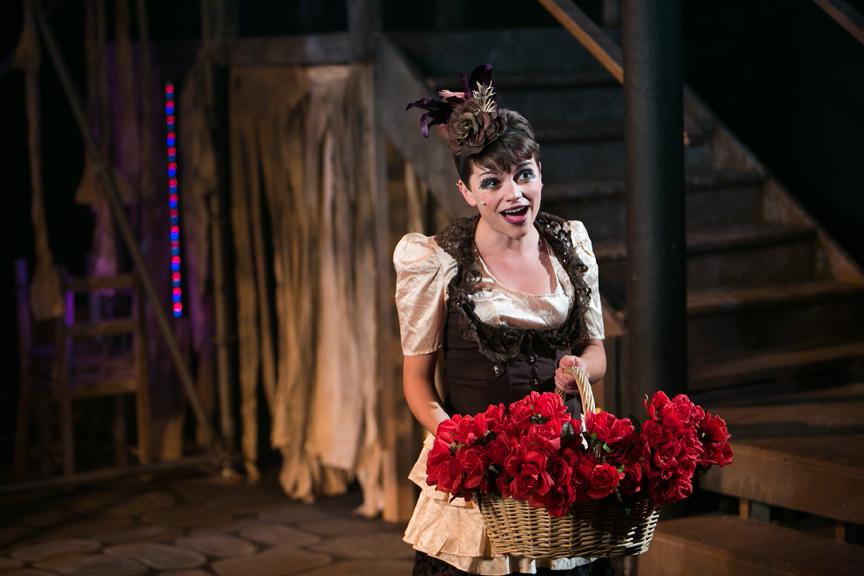Flower Seller sings Who Will Buy in Oliver! steampunk costume design by Katharine Tarkulich