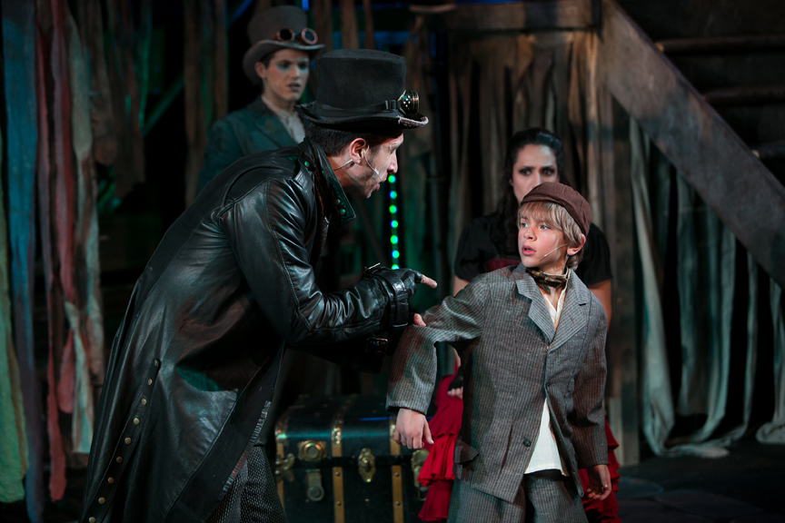 Bill Sykes, Oliver, Artful Dodger, and Nancy in Oliver! steampunk costume design by Katharine Tarkulich