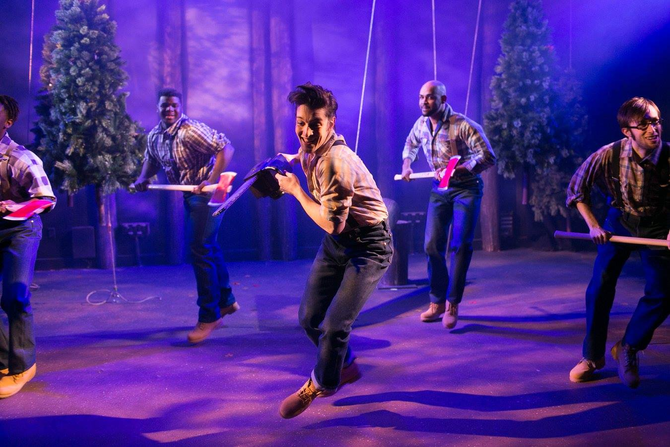 Sprites as lumberjacks in Shakespeare's A Midsummer Night's Dream costume design by Katharine Tarkulich