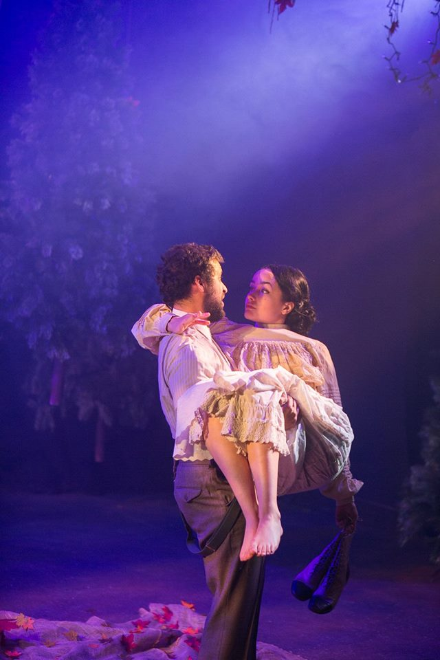 Lysander and Hermia in Shakerspeare's A Midsummer Night's Dream costume design by Katharine Tarkulich