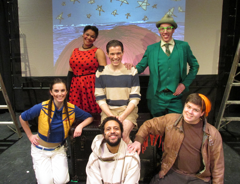 From top: Ladybug, James, Grasshopper, Spider, Earthworm, and Centipede in James and The Giant Peach school tour, costume design by Katharine Tarkulich