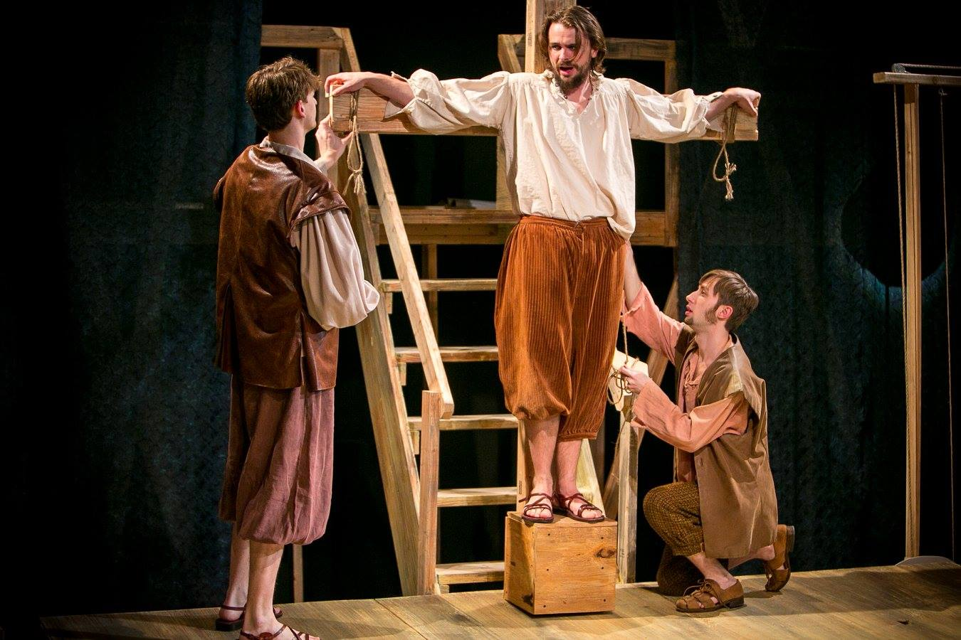 Carpenter 1, James, and Carpenter 2 in Act 1 of Sarah Ruhl's Passion Play costume design by Katharine Tarkulich