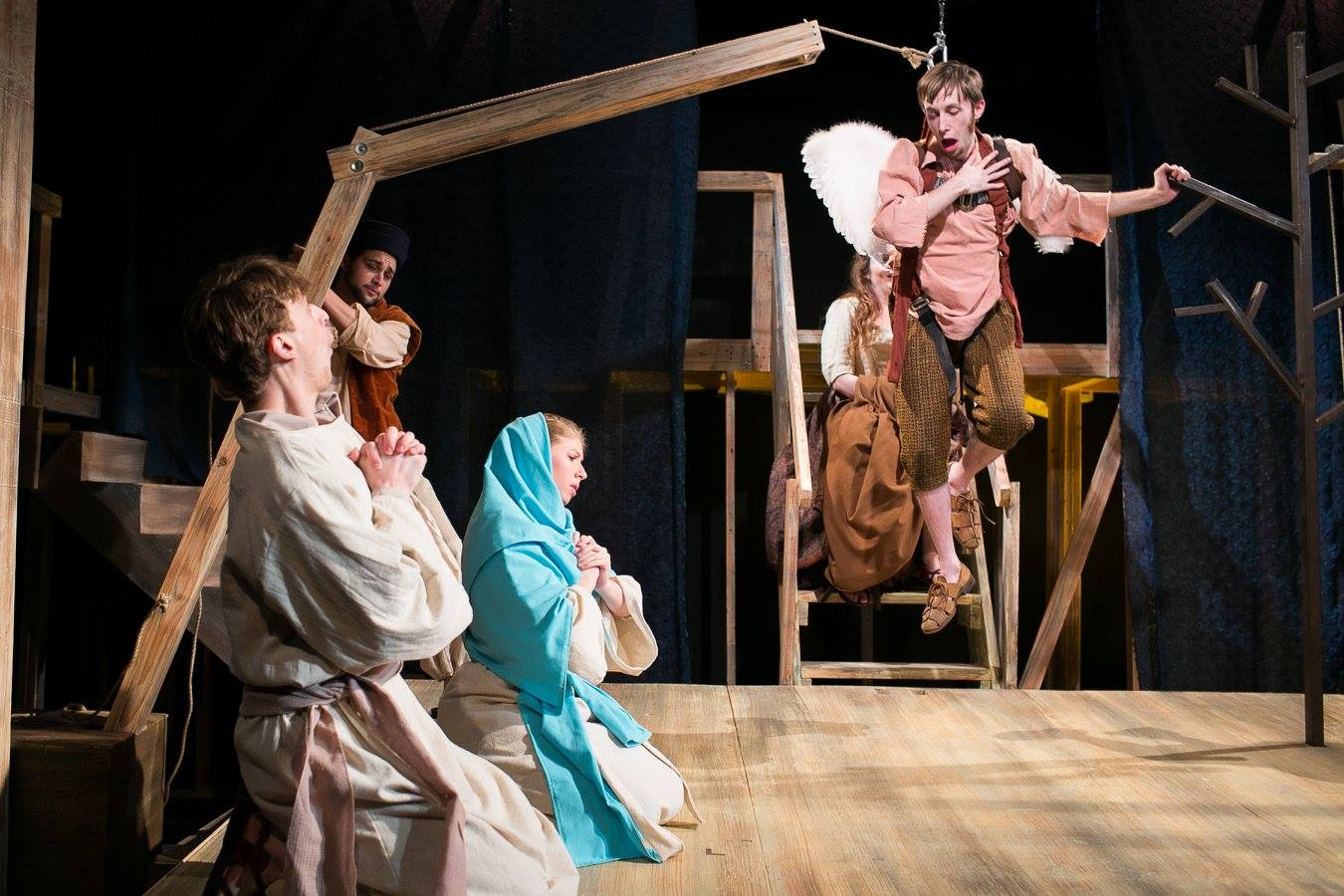 Sam, Machinist, Mary 1, Mary 2, and Simon in Act 1 of Sarah Ruhl's Passion Play costume design by Katharine Tarkulich