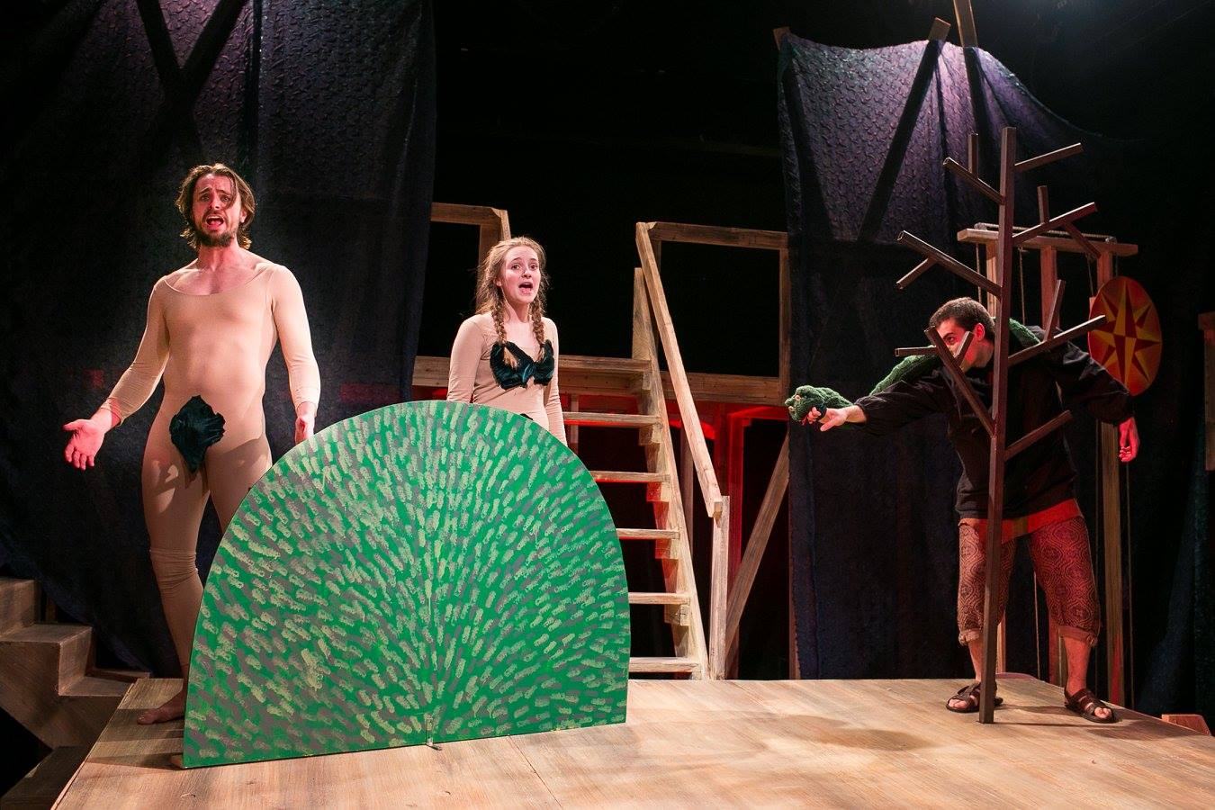 James, Village Idiot, and Pontius the Fish Gutter in Act 1 of Sarah Ruhl's Passion Play costume design by Katharine Tarkulich