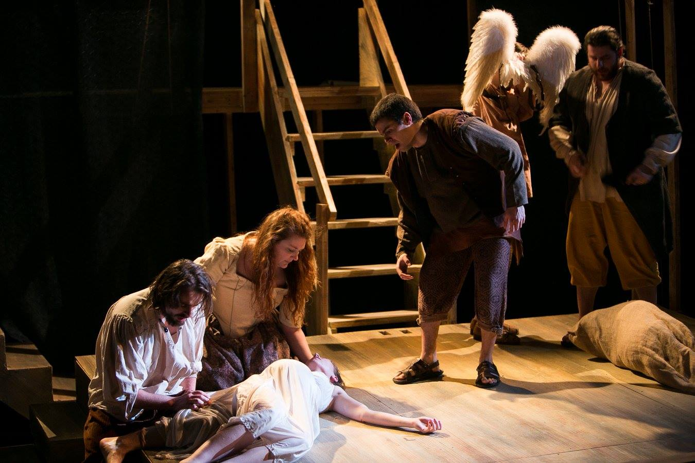 James, Mary 2, Mary 1, Pontius, Simon, and Director from Act 1 of Sarah Ruhl's Passion Play costume design by Katharine Tarkulich