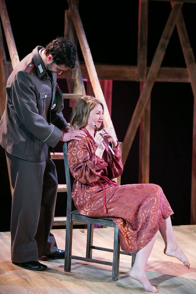 German Officer and Elsa in Act 2 of Sarah Ruhl's Passion Play costume design by Katharine Tarkulich