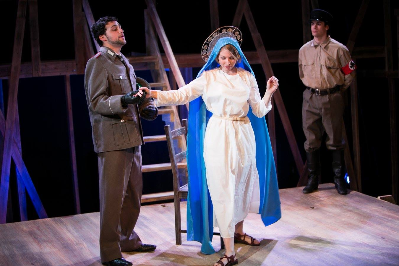 German Officer, Elsa (Virgin Mary), and Foot Soldier from Act 2 of Sarah Ruhl's Passion Play costume design by Katharine Tarkulich