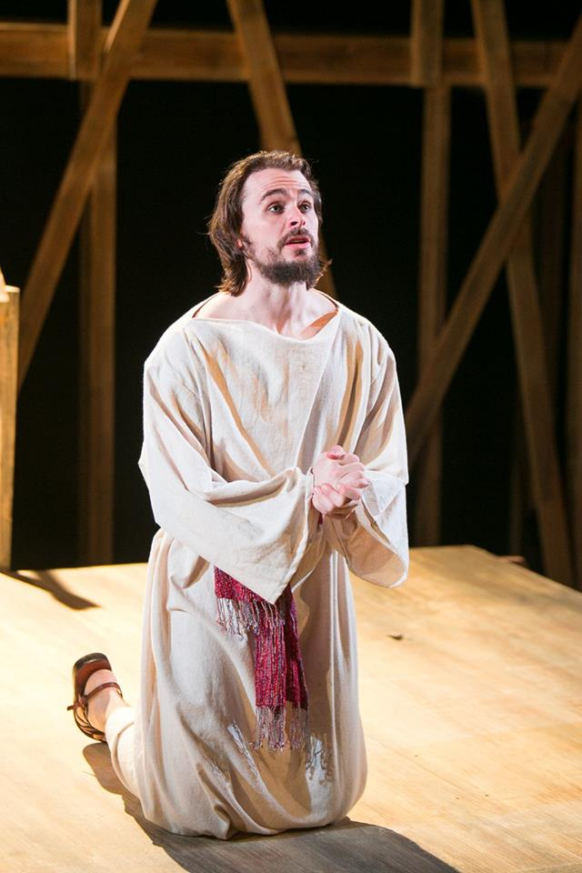 Eric (Jesus) in Act 2 of Sarah Ruhl's Passion Play costume design by Katharine Tarkulich