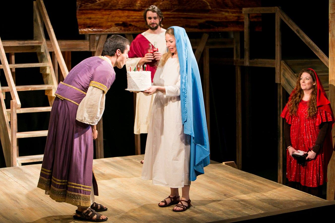 P (Pontius), J (Jesus), Mary 1 (Virgin Mary), and Mary 2 (Mary Magdalene) from Act 3 of Sarah Ruhl's Passion Play costume design by Katharine Tarkulich