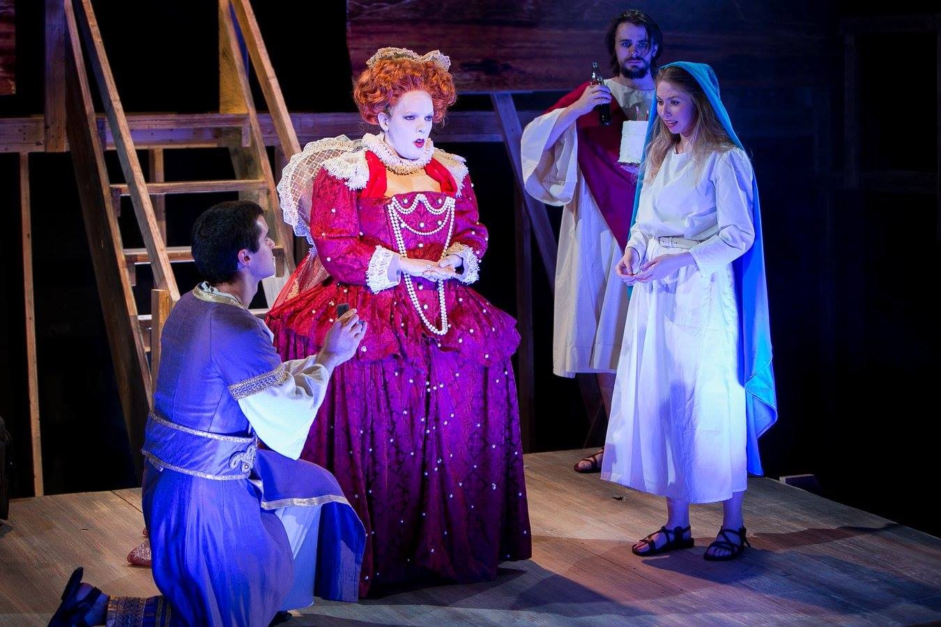 P (Pontius), Queen Elizabeth I, J (Jesus) and Mary 1 (Virgin Mary) from Sarah Ruhl's Passion Play costume design by Katharine Tarkulich