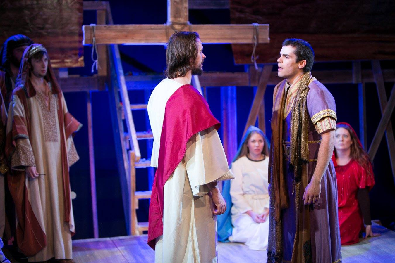 J (Jesus) and P (Pontius) with Virgin Mary, Mary Magdalene, and crowd from Act 3 of Sarah Ruhl's Passion Play costume design by Katharine Tarkulich