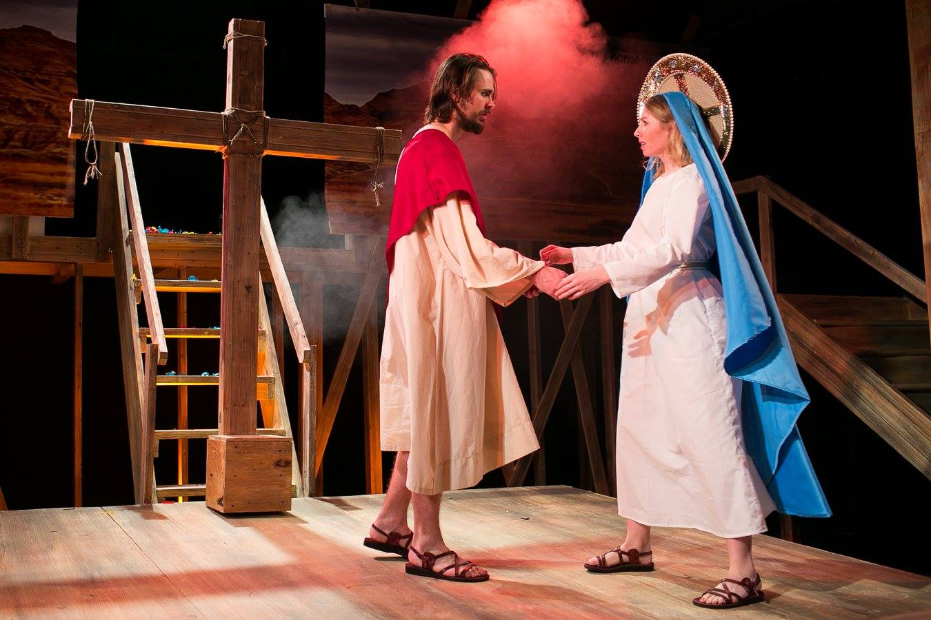 J (Jesus) and Mary 1 (Virgin Mary) from Act 3 of Sarah Ruhl's Passion Play costume design by Katharine Tarkulich