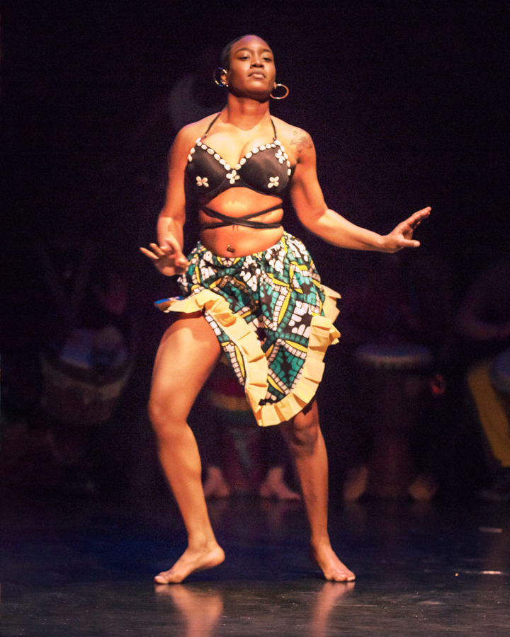 Konkoba African dance - lapas graphic print skirt for the Sankofa dance concert at the College at Brockport, costume designed and built by Katharine Tarkulich